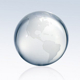 Clear Ocean World Globe - Flat Bottom