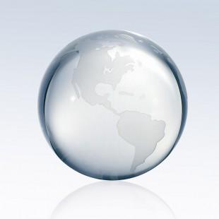 Clear Ocean World Globe - Flat Bottom