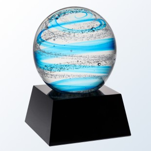 Blue Snow Globe with black base