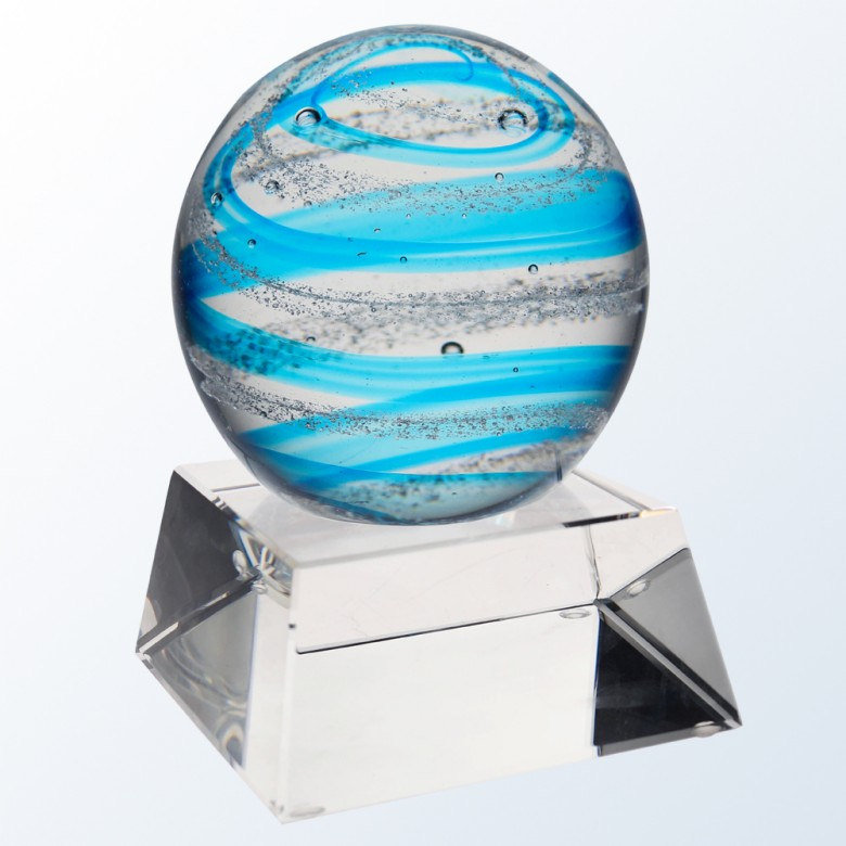 Blue Snow Globe with clear base