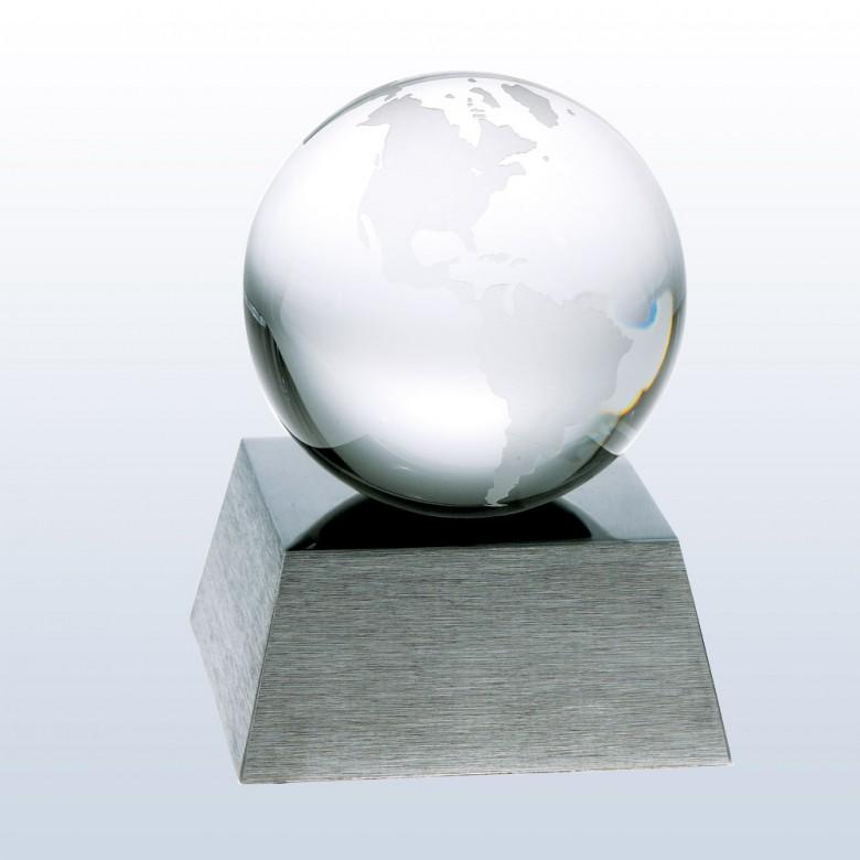 Clear Ocean Globe w/ Aluminum Base